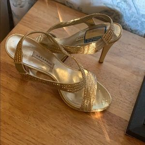 Gold sparkly heeled sandals size 7